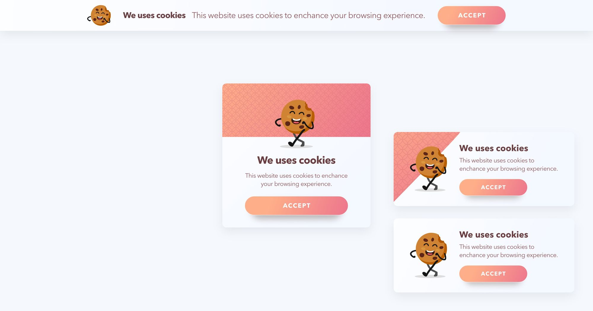 We Uses Cookies - Cookie Disclaimer Type Popup Example 01