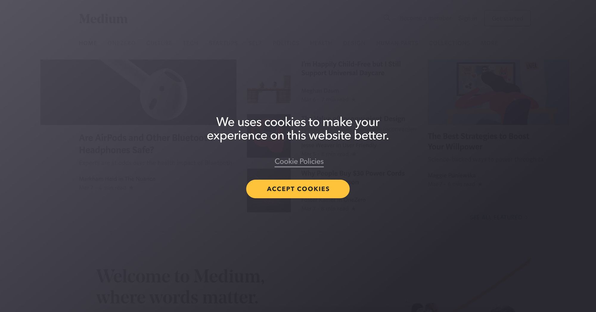 Make Experience on This Website Better-Cookie Disclaimer Popup 05 (Fullscreen Version)