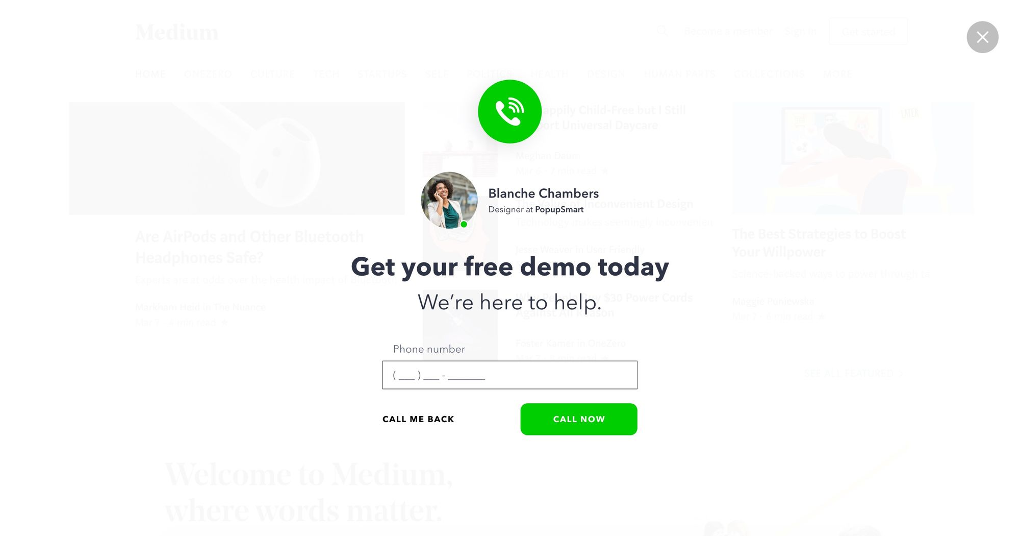 """Get Your Free Demo Today"" - Increase Phone Call Popup Design 01 (Fullscreen Version)"
