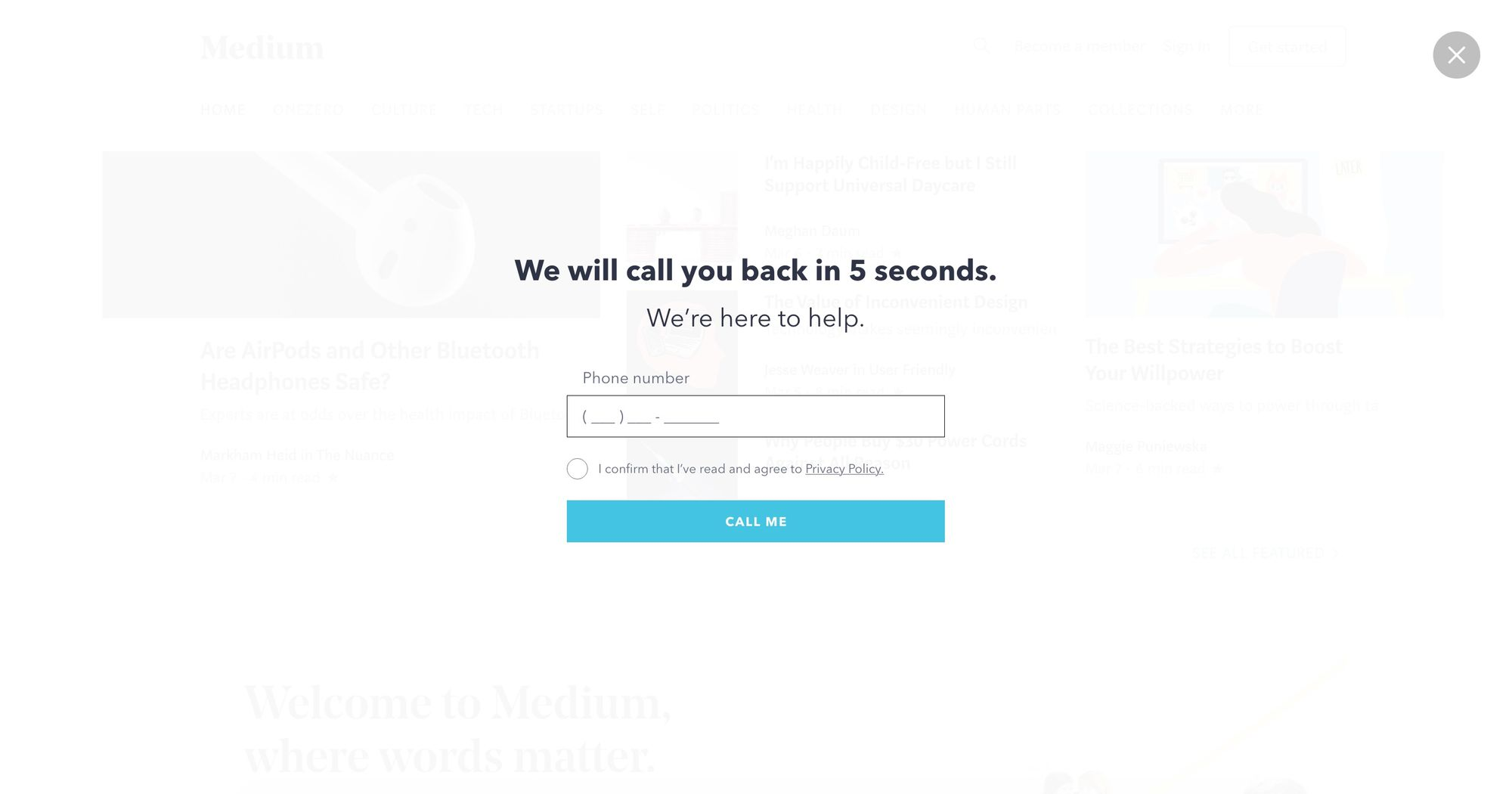 """Call You in 5-sec"" (White) - Increase Phone Call Popup Design 02 (Fullscreen Version)"