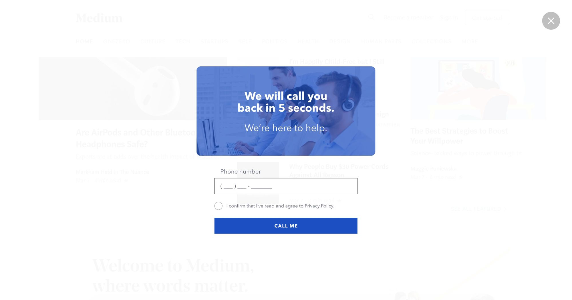 """Call You in 5-sec"" (Blue) - Increase Phone Call Popup Design 03 (Fullscreen Version)"