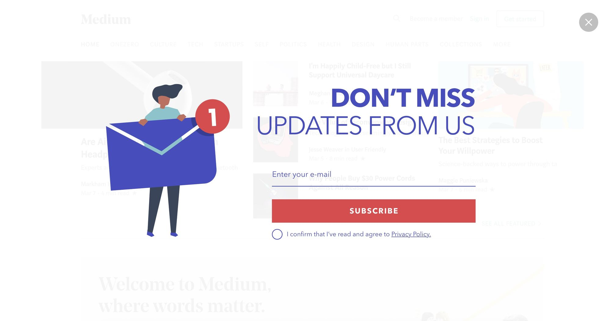 Dont Miss Updates From Us- Newsletter Popup 01(Fullscreen)