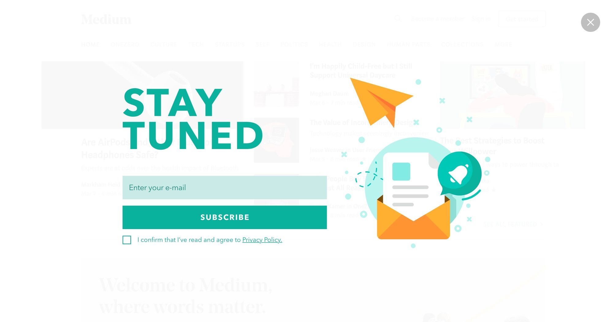 Stay Tuned - Newsletter Popup 02 (Fullscreen)