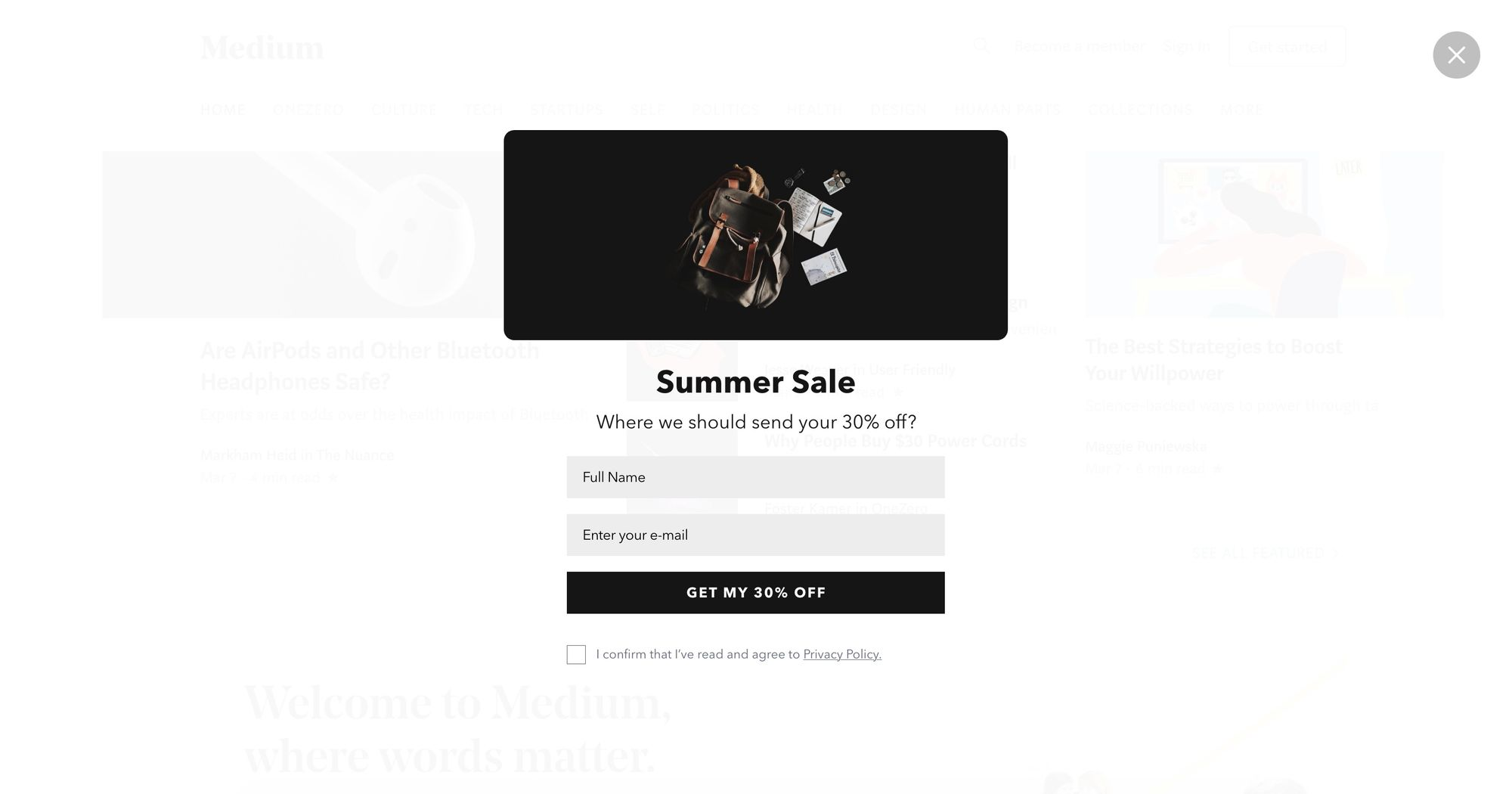 """Get My 30% Off"" Newsletter Popup Design 08 (Fullscreen Version)"