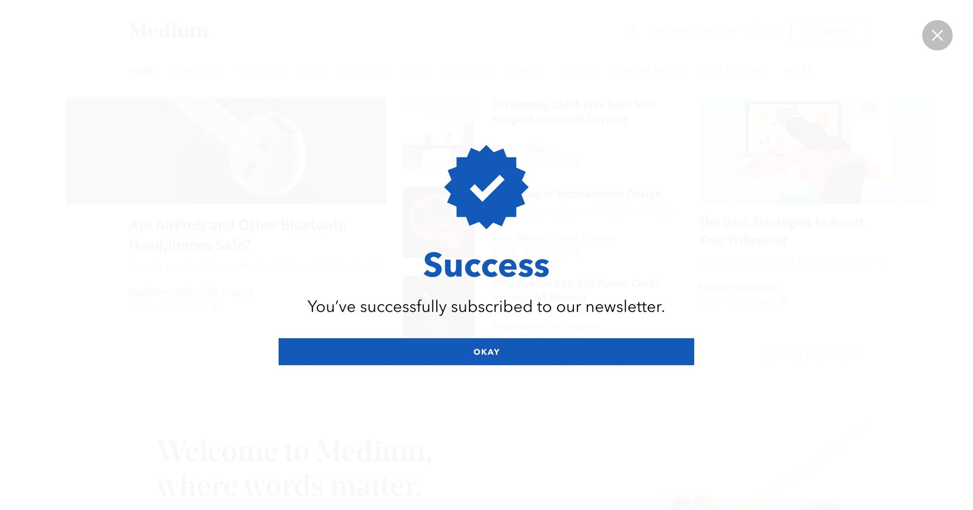 """""""Welcome, Join for 15% Off"""" Newsletter Popup Design 09 (Success Fullscreen)"""