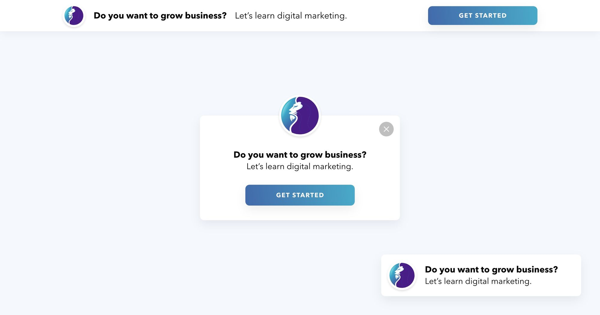 """""""Grow Your Business"""" - Notification Popup Design 01 - Get Started"""