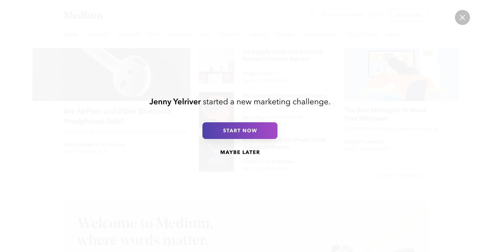 """Join a Marketing Challenge"" - Notification Popup Design 02 (Fullscreen Version)"