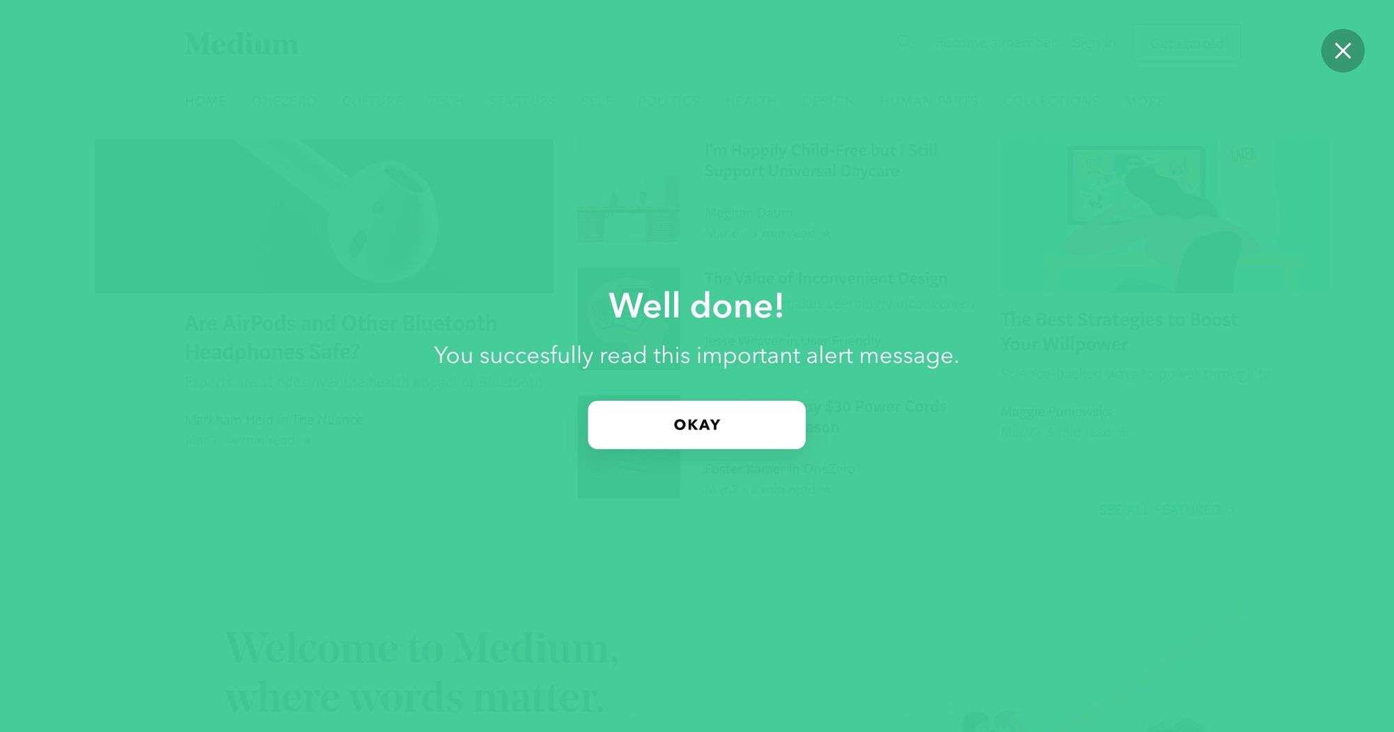 """Well Done"" (Green) - Notification Popup Design 03 (Fullscreen Version)"