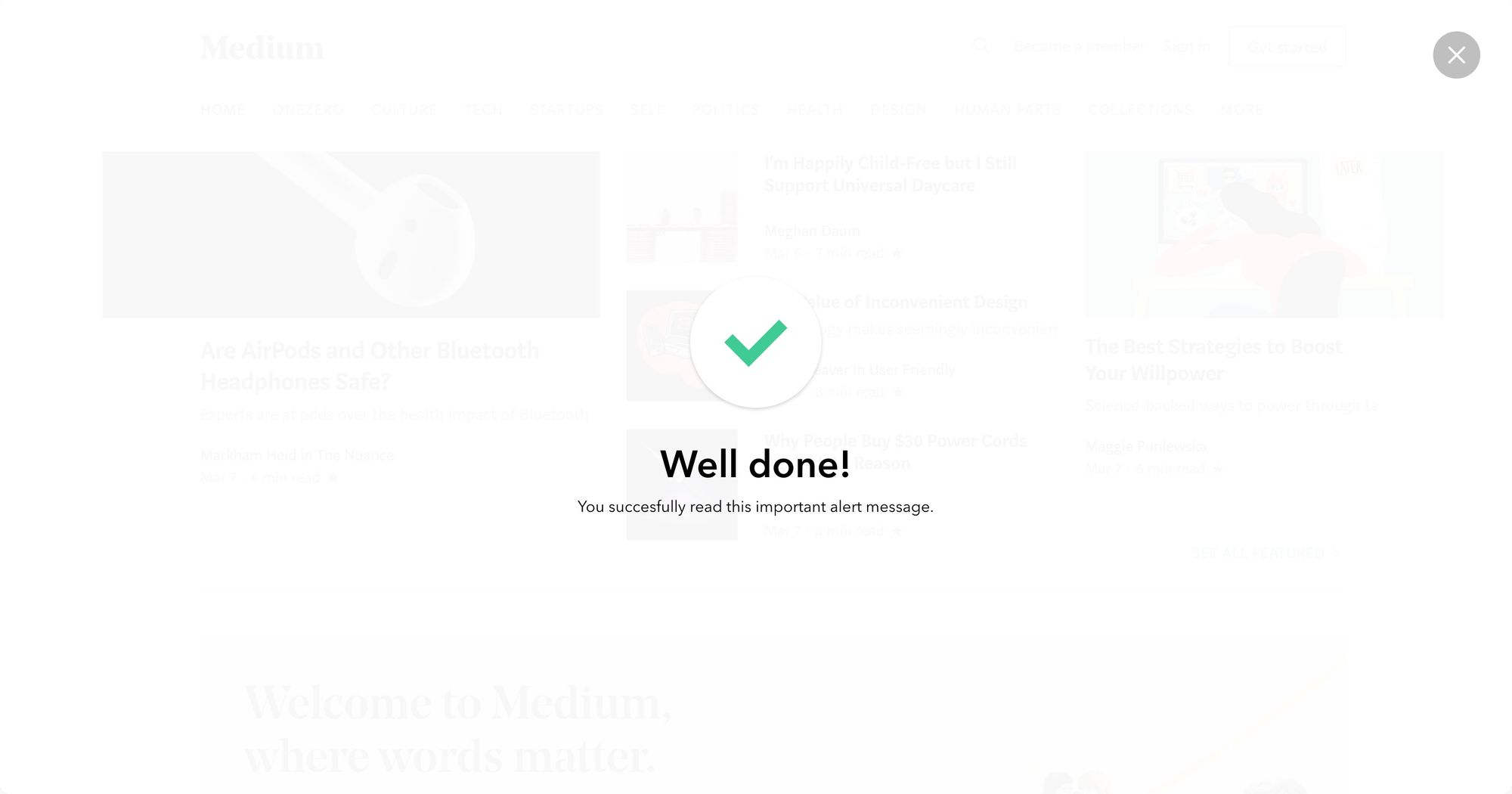 """Well Done"" (White) - Notification Popup Design 04-(Fullscreen Version)"