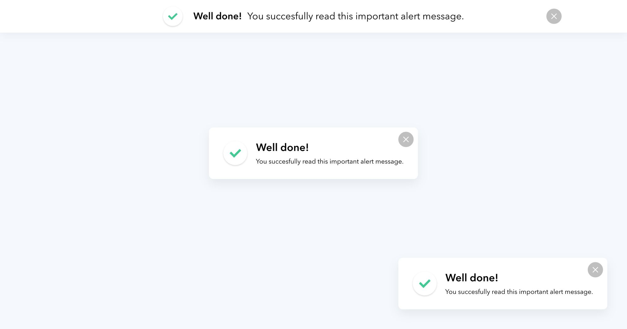 """Well Done"" (White) - Notification Popup Design 04"