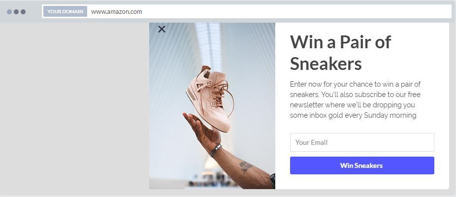 """""""Win a Free Sample"""" Newsletter Popup Design Bottom Right 11"""