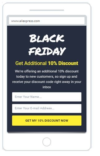 """Black Friday Discount"" Newsletter Popup Design Mobile 14"