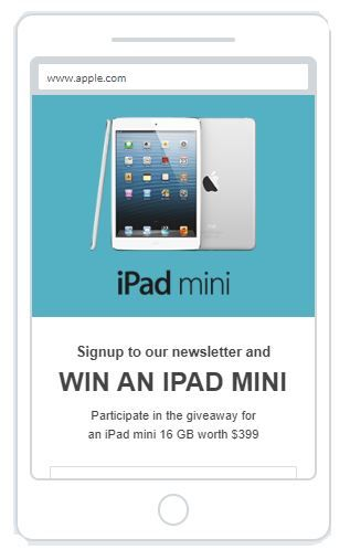 """Win an iPad Mini"" Newsletter Popup Design Mobile 15"