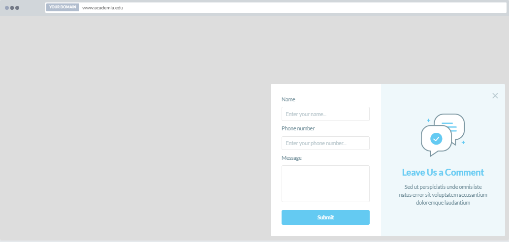 """""""Submit a Comment"""" Increase Phone Call Popup Design 5 (Bottom Right)"""
