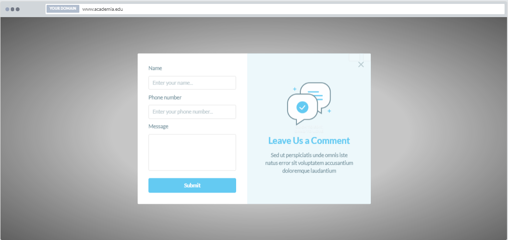 """""""Submit a Comment"""" Increase Phone Call Popup Design 5 (Center)"""