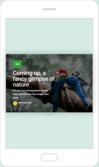 """Fancy Glimpse of Nature"" Product Promotion Popup Design 14 (Mobile)"