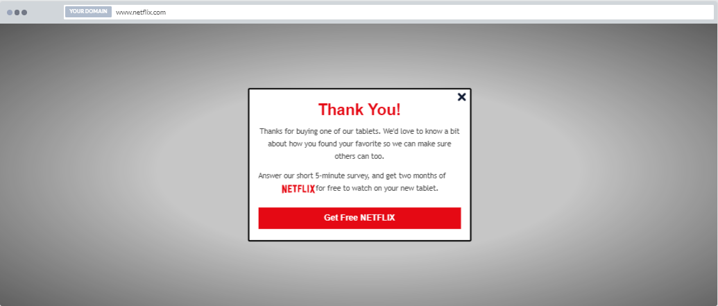 """Get Free Netflix"" Product Promotion Popup Design (Center) - 7"