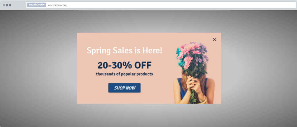 """Spring Sales Discount"" Product Promotion Popup Design 8 (Center)"