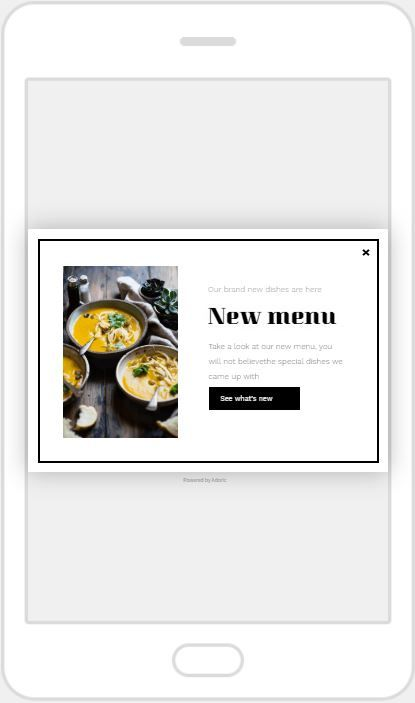 """New Menu"" Product Promotion Popup Design 10 (Mobile)"