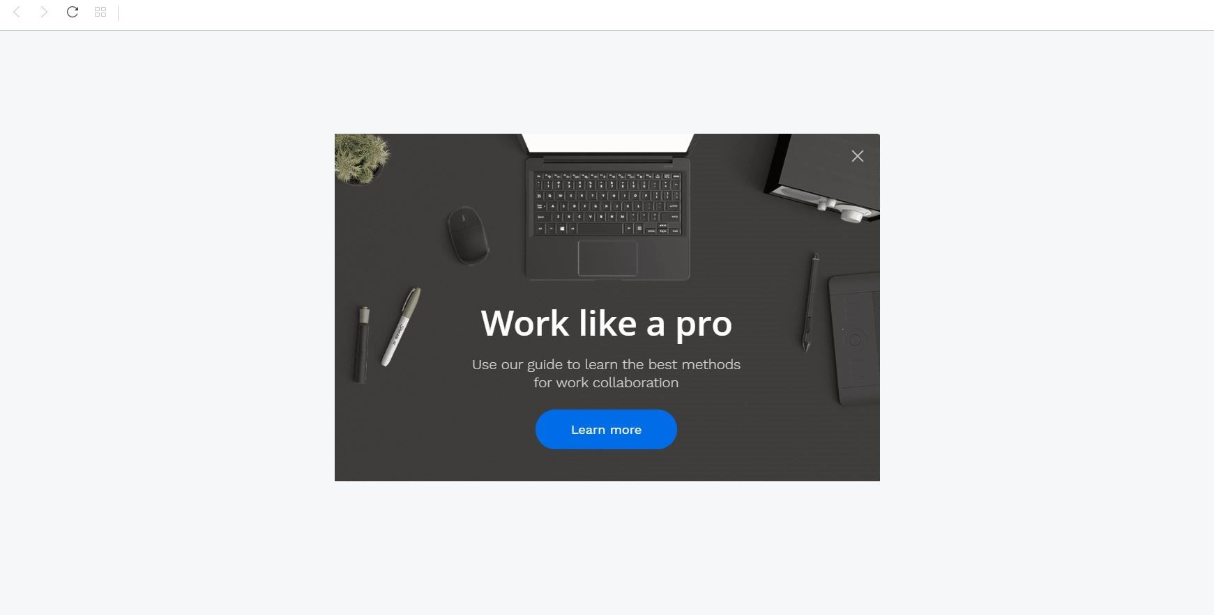 """Work Like a Pro"" Product Promotion Popup Design 15 (Center)"