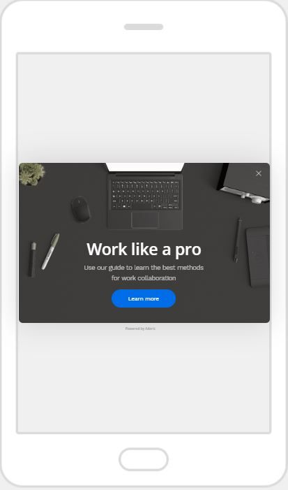 """Work Like a Pro"" Product Promotion Popup Design 15 (Mobile)"