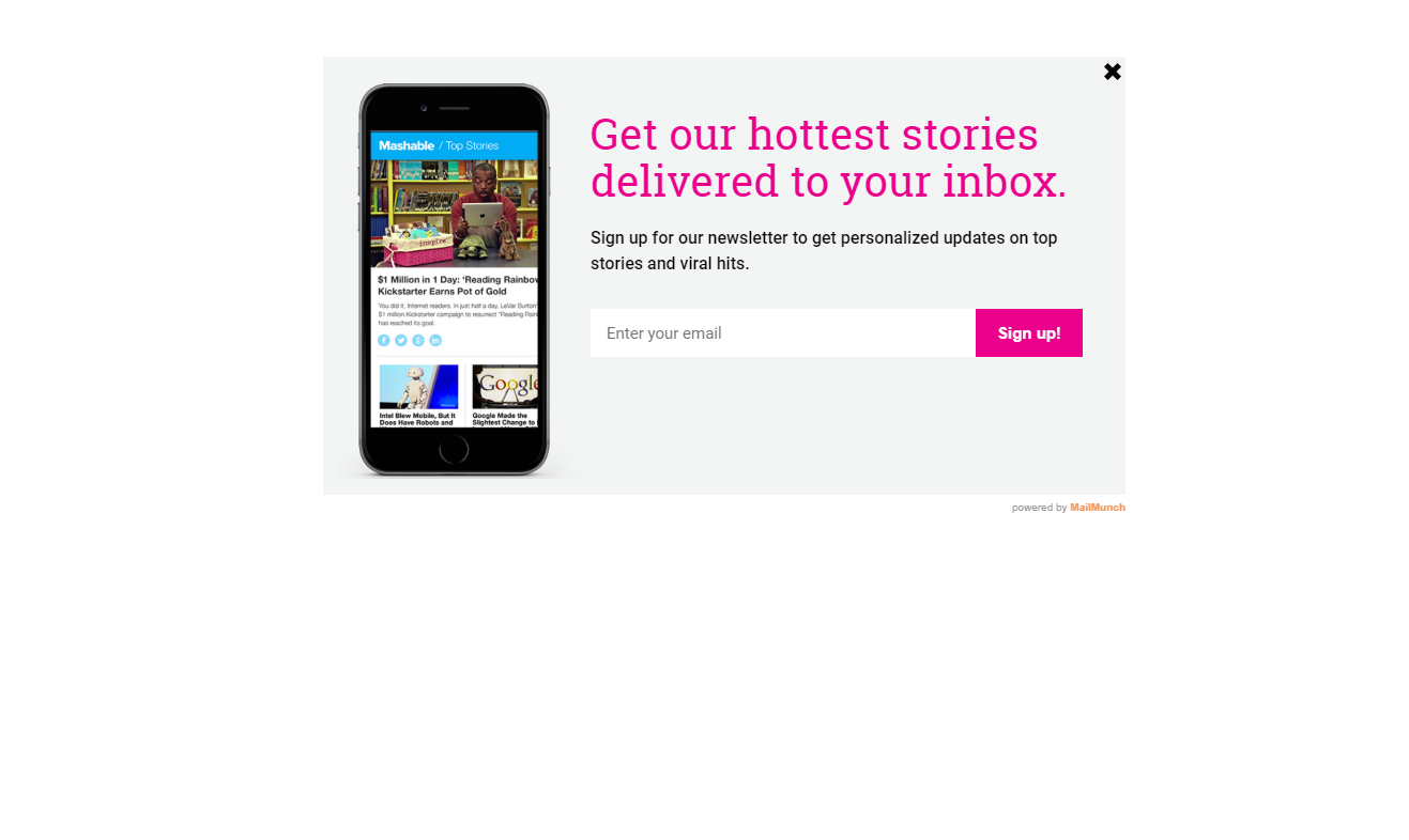 mailmunch app popup design