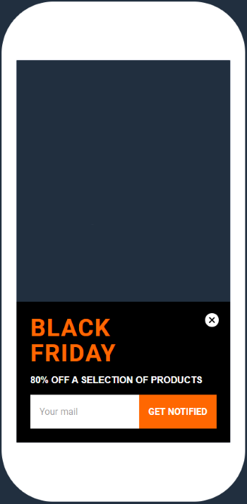 wisepops content blackfriday orange mobil popup design