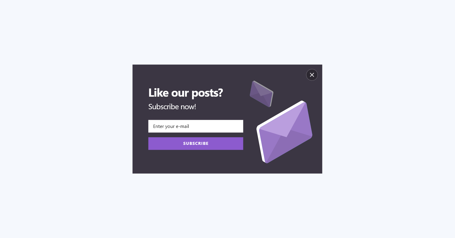 popupsmart content like our posts middle popup design