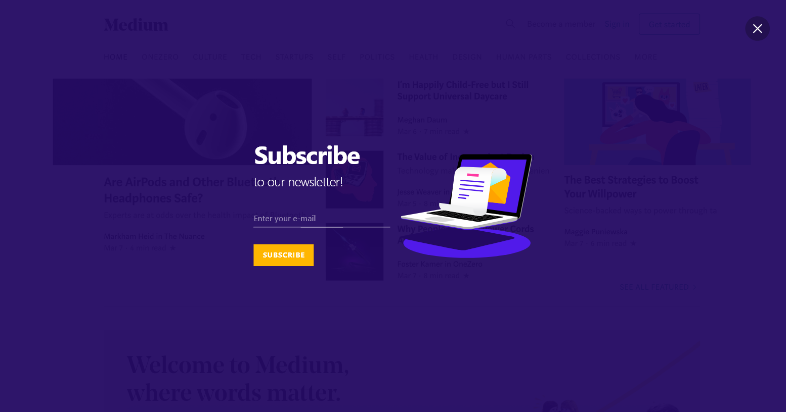 popupsmart content subscribe purple fullscreen popup design
